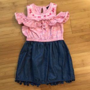 3T Joe's Peekaboo Shoulder Pink/denim dress